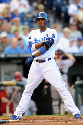 KANSAS CITY, MO - JUNE 21:  Alcides Escobar #2 of the Kansas City Royals stands at home plate following a strike out against the Arizona Diamondbacks at Kauffman Stadium on June 21, 2011 in Kansas City, Missouri. (Photo by G. Newman Lowrance/Getty Images)
