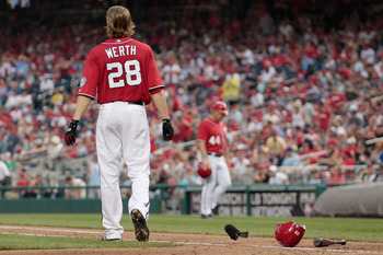 WASHINGTON, DC - AUGUST 21: Jayson Werth #28 of the Washington Nationals walks away from the plate after striking out looking to end the fifth inning against the Philadelphia Phillies at Nationals Park on August 21, 2011 in Washington, DC.  (Photo by Rob