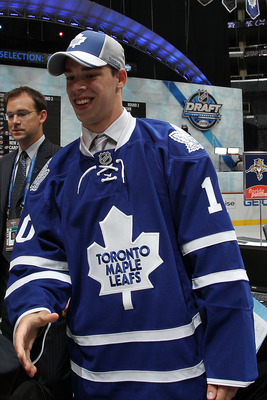 LOS ANGELES, CA - JUNE 26:  Greg McKegg smiles after being drafted in the third round by the Toronto Maple Leafs during day two of the 2010 NHL Entry Draft at Staples Center on June 26, 2010 in Los Angeles, California.  (Photo by Bruce Bennett/Getty Image