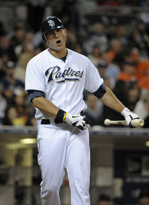 SAN DIEGO, CA - JULY 15: Anthony Rizzo #27 of the San Diego Padres reacts after striking out during the seventh inning of a baseball game against the San Francisco Giants at Petco Park on July 15, 2011 in San Diego, California. The Giants won 6-1.  (Photo