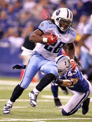 INDIANAPOLIS - JANUARY 02:  Chris Johnson #28 of the Tennessee Titans runs for a touchdown during NFL game against the Indianapolis Colts at Lucas Oil Stadium on January 2, 2011 in Indianapolis, Indiana.  (Photo by Andy Lyons/Getty Images)