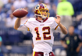 INDIANAPOLIS, IN - AUGUST 19:  John Beck #3 of the Washington Redskins throws a pass during the game against Indianapolis Colts at Lucas Oil Stadium on August 19, 2011 in Indianapolis, Indiana.  (Photo by Andy Lyons/Getty Images)