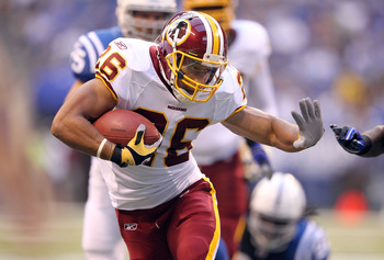 INDIANAPOLIS, IN - AUGUST 19:  Roy Helu #26 of the Washington Redskins runs with the ball during the game against Indianapolis Colts at Lucas Oil Stadium on August 19, 2011 in Indianapolis, Indiana.  (Photo by Andy Lyons/Getty Images)