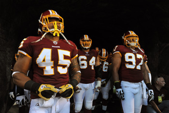 LANDOVER, MD - AUGUST 12:  Mike Sellers #45 of the Washington Redskins prepares to take the field before the game against the Pittsburgh Steelers  at FedExField on August 12, 2011 in Landover, Maryland. The Redskins are tied with the Steelers 7-7 at the h