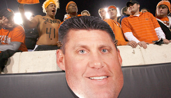 Fans render a likeness of OSU head coach Mike Gundy