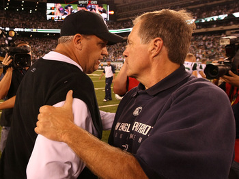 EAST RUTHERFORD, NJ - SEPTEMBER 19:  Rex Ryan, Head Coach of the New York Jets greets Bill Belichick, head coach of the New England Patriots after a Jets 28-14 win on September 19, 2010 at the New Meadowlands Stadium  in East Rutherford, New Jersey.  (Pho