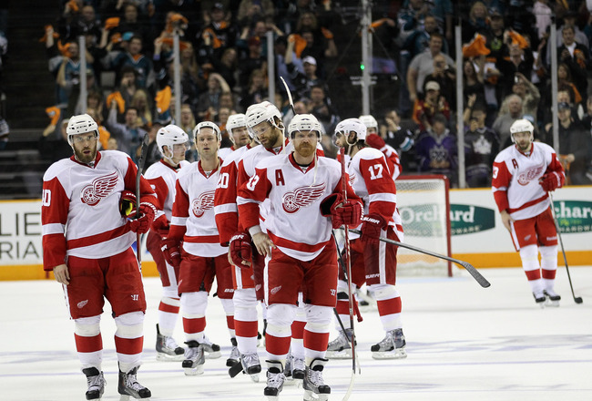 SAN JOSE, CA - MAY 12:  The Detroit Red Wings wait to shake hands with the San Jose Sharks after they lost Game Seven of the Western Conference Semifinals during the 2011 NHL Stanley Cup Playoffs at HP Pavilion on May 12, 2011 in San Jose, California.  (P
