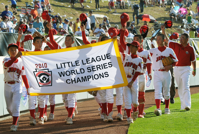 SOUTH WILLAMSPORT, PA - AUGUST 29:  Team Japan rounds the ball park and wave to the crowd after their 4-1 victory over the United States to win the Little League World Series Championship on August 29, 2010 in South Willamsport, Pennsylvania.  (Photo by D