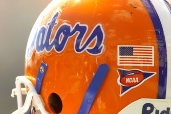 22 Sep 2001:  Florida Gator helmet decorated with an american flag during the game at Commonwealth Stadium in Lexington, Kentucky. Florida beat Kentucky 44-10. DIGITAL IMAGE. Mandatory Credit : Brian Bahr/Allsport