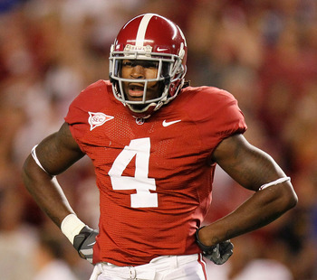 TUSCALOOSA, AL - OCTOBER 02:  Mark Barron #4 of the Alabama Crimson Tide against the Florida Gators at Bryant-Denny Stadium on October 2, 2010 in Tuscaloosa, Alabama.  (Photo by Kevin C. Cox/Getty Images)
