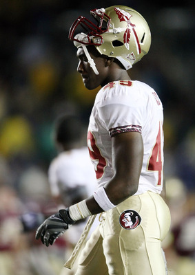 CHESTNUT HILL, MA - OCTOBER 03:  Brandon Jenkins #49 of the Florida State Seminoles walks off the field after the game against the Boston College Eagles on October 3, 2009 at Alumni Stadium in Chestnut Hill, Massachusetts. Boston College defeated Florida