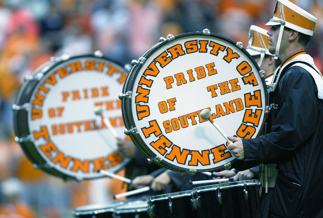 KNOXVILLE, TN - SEPTEMBER 21:  The University of Tennessee marching band drummers take the field during the Southeastern Conference football game between the Volunteers and the Florida Gators on September 21, 2002 at Neyland Stadium in Knoxville, Tennesse