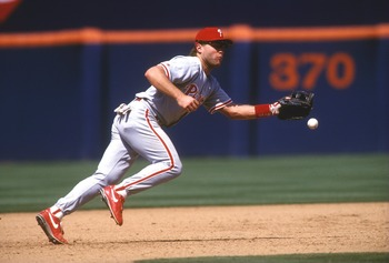 Philadelphia Phillies thirdbaseman Dave Hollins in action. Mandatory Credit: Stephen Dunn/ALLSPORT
