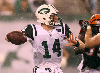 EAST RUTHERFORD, NJ - AUGUST 21:  Greg McElroy #14 of the New York Jets passes against the Cincinnati Bengals during their pre season game on August 21, 2011 at the New Meadowlands Stadium in East Rutherford, New Jersey.  (Photo by Al Bello/Getty Images)