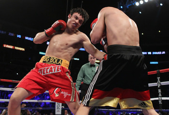 LOS ANGELES, CA - JUNE 04:  Julio Cesar Chavez Jr. (L) of Mexico throws a punnch at Sebastian Zbik of Germany during their WBC World Middleweight Title bout at Staples Center on June 4, 2011 in Los Angeles, California.  (Photo by Jeff Gross/Getty Images)