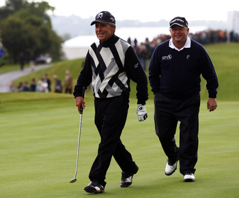 NEWPORT, WALES - MAY 30:  Gary Player of South Africa and Ian Woosnam of Wales in action during PowerPlay Ignition Golf on the Twenty Ten course at the Celtic Manor Resort on May 30, 2011 in Newport, Wales.  (Photo by Richard Heathcote/Getty Images)
