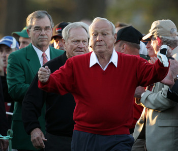 AUGUSTA, GA - APRIL 07: William Porter Payne, the chairman of Augusta National Golf Club, Jack Nicklaus and  Arnold Palmer, wait on the first tee prior to starting the first round of the 2011 Masters Tournament at Augusta National Golf Club on April 7, 20