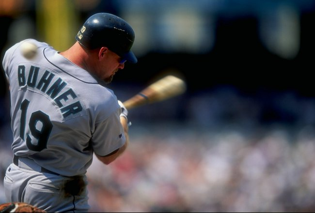 26 Jul 1998:  Outfielder Jay Buhner #19 of the Seattle Mariners in action during a game against the Baltimore Orioles at the Camden Yards in Baltimore, Maryland. The Mariners defeated the Orioles 10-4. Mandatory Credit: Doug Pensinger  /Allsport