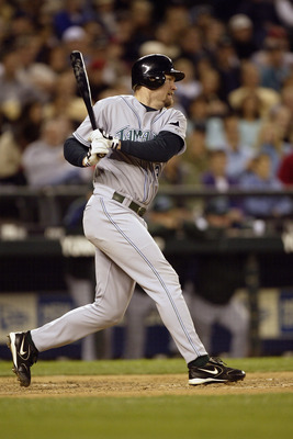 SEATTLE - JUNE 4:  Aubrey Huff #19 of the Tampa Bay Devil Rays bats during the game with the Seattle Mariners on June 4 2005 at Safeco Field in Seattle Washington. The Mariners won 6-5.  (Photo by Otto Greule Jr/Getty Images)