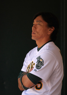 OAKLAND, CA - AUGUST 17:  Hideki Matsui #55 of the Oakland Athletics stands in the dugout during their game against the Baltimore Orioles at O.co Coliseum on August 17, 2011 in Oakland, California.  (Photo by Ezra Shaw/Getty Images)