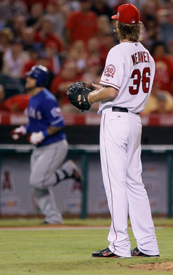 Jered Weaver, staring down Mike Napoli, wishing he were still his catcher.