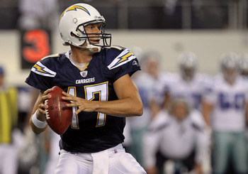 ARLINGTON, TX - AUGUST 21:  Philip Rivers #17 of the San Diego Chargers throws against the Dallas Cowboys during a preseason game at Cowboys Stadium on August 21, 2011 in Arlington, Texas.  (Photo by Ronald Martinez/Getty Images)