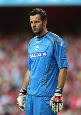 LONDON, ENGLAND - AUGUST 16:  Samir Handanovic of Udinese looks on during the UEFA Champions League play-off first leg match between Arsenal and Udinese at the Emirates Stadium on August 16, 2011 in London, England.  (Photo by Julian Finney/Getty Images)