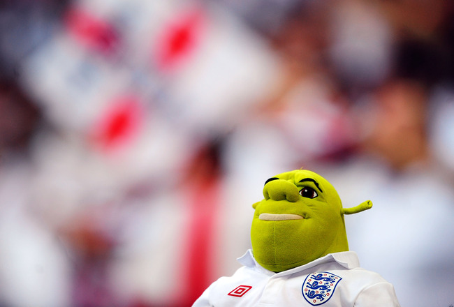 LONDON, ENGLAND - MAY 24:  An England fan dressed up as Shrek during the International Friendly match between England and Mexico at Wembley Stadium on May 24, 2010 in London, England.  (Photo by Jamie McDonald/Getty Images)