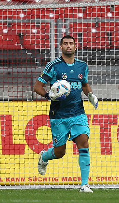 NUREMBERG, GERMANY - AUGUST 16:  Volkan Demirel of Fenerbahace Istanbul warms up prior to the friendly match between 1.FC Nuernberg and Fenerbahce Istanbul at the Easy Credit stadium on August 16, 2011 in Nuremberg, Germany.  (Photo by Thomas Niedermuelle