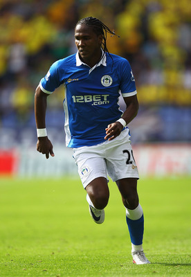 WIGAN, ENGLAND - AUGUST 13:  Hugo Rodallega of Wigan Athletic in action during the Barclays Premier League match between Wigan Athletic and Norwich City at the DW Stadium on August 13, 2011 in Wigan, England.  (Photo by Matthew Lewis/Getty Images)