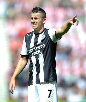 SUNDERLAND, ENGLAND - AUGUST 20:  Joey Barton of Newcastle United gestures during the Barclays Premier League match between Sunderland and Newcastle United at Stadium of Light on August 20, 2011 in Sunderland, England.  (Photo by Chris Brunskill/Getty Ima