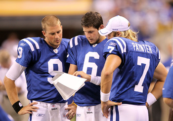 INDIANAPOLIS, IN - AUGUST 19:  Mike Hartline #9, Dan Orlovsky#6  and Curtis Painter #7 of the Indianapolis Colts look at play sheets during the game against the Washington Redskins at Lucas Oil Stadium on August 19, 2011 in Indianapolis, Indiana.  (Photo