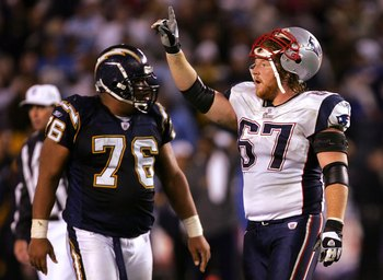 SAN DIEGO - JANUARY 14:  Dan Koppen #67 of the New England Patriots celebrates in the AFC Divisional Playoff Game against the San Diego Chargers held at Qualcomm Stadium January 14, 2007 in San Diego, California. The Patriots defeated the Chargers 24-21.