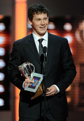 LAS VEGAS, NV - JUNE 22:  Jeff Skinner of the Carolina Hurricanes accepts the Calder Memorial Trophy during the 2011 NHL Awards at The Pearl concert theater at the Palms Casino Resort June 22, 2011 in Las Vegas, Nevada.  (Photo by Ethan Miller/Getty Image
