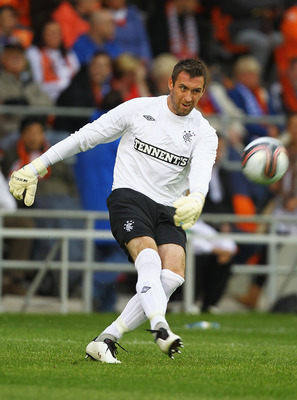BLACKPOOL, ENGLAND - JULY 19:  Alan McGregor of Rangers in action during the Pre Season Friendly match between Blackpool and Rangers at Bloomfield Road on July 19, 2011 in Blackpool, England.  (Photo by Matthew Lewis/Getty Images)