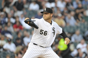 CHICAGO, IL - AUGUST 17:  Starting pitcher Mark Buehrle #56 of the Chicago White Sox delivers during the first inning against the Cleveland Indians at U.S. Cellular Field on August 17, 2011 in Chicago, Illinois.  (Photo by Brian Kersey/Getty Images)