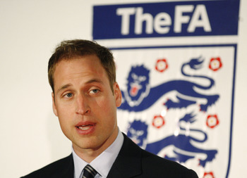 LONDON - MAY 15:  Britain's Prince William speaks about the sportsmanship and fair play awards during the first English Football Association Respect and Fair Play Award ceremony at Wembley Stadium on May 15, 2010 in London, United Kingdom. Prince William
