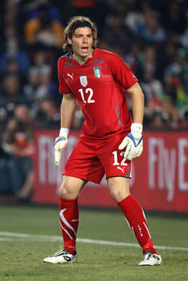 JOHANNESBURG, SOUTH AFRICA - JUNE 24:  Federico Marchetti of Italy in action during the 2010 FIFA World Cup South Africa Group F match between Slovakia and Italy at Ellis Park Stadium on June 24, 2010 in Johannesburg, South Africa.  (Photo by David Cannon