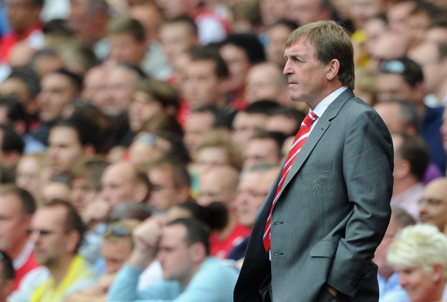 LONDON, ENGLAND - AUGUST 20:  Liverpool manager Kenny Dalglish looks thoughtful during the Barclays Premier League match between Arsenal and Liverpool at the Emirates Stadium on August 20, 2011 in London, England.  (Photo by Michael Regan/Getty Images)