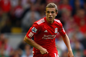LIVERPOOL, ENGLAND - AUGUST 06:  Jordan Henderson of Liverpool in action during the pre season friendly match between Liverpool and Valencia at Anfield on August 6, 2011 in Liverpool, England.  (Photo by Clive Brunskill/Getty Images)