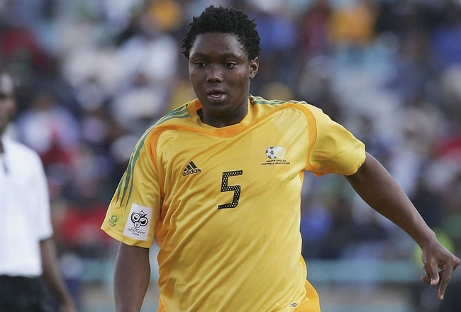 JOHANESBURG, SOUTH AFRICA - JUNE 18: Mbulelo Mabizela of South Africa on the ball during the 2006 World Cup and African Cup of Nations Qualifying match between South Africa and Ghana at FNB Stadium, on June 18, 2005 in Johanesburg, South Africa. (Photo by