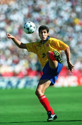 22 JUN 1994:  ANDRES ESCOBAR OF COLOMBIA TRIES TO CONTROL THE BALL DURING COLOMBIA's 2-1 LOSS TO THE USA IN A 1994 WORLD CUP MATCH AT THE ROSE BOWL IN PASADENA. Mandatory Credit: Shaun Botterill/ALLSPORT