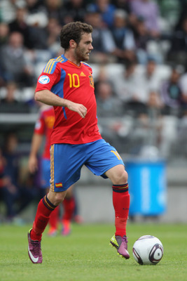 VIBORG, DENMARK - JUNE 22:  Juan Mata of Spain during the UEFA European Under-21 Championship semi-final match between Belarus and Spain at the Viborg Stadium on June 22, 2011 in Viborg, Denmark.  (Photo by Michael Steele/Getty Images)
