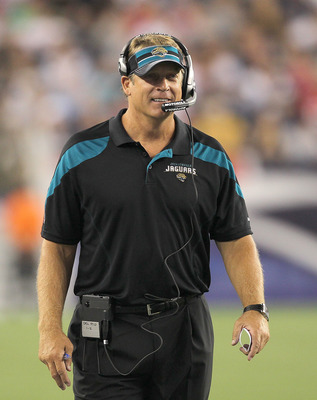 FOXBORO, MA - AUGUST 11: Jack Del Rio coach of the Jacksonville Jaguars watches the action against the New England Patriots during a preseason game at Gillette Stadium on August 11, 2011 in Foxboro, Massachusetts. (Photo by Jim Rogash/Getty Images)
