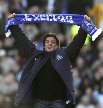 LIVERPOOL, UNITED KINGDOM - JANUARY 14: Hollywood Actor Sylvester Stallone salutes the fans with an Everton scarf prior to the start of the Barclays Premiership match between Everton and Reading at Goodison Park on January 14, 2007 in Liverpool, England.