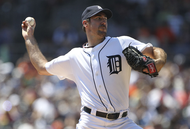 DETROIT - JULY 31:  Justin Verlander #35 of the Detroit Tigers pitches in the second inning during the game against the Los Angeles Angels of Anaheim at Comerica Park on July 31, 2011 in Detroit, Michigan.  (Photo by Leon Halip/Getty Images)