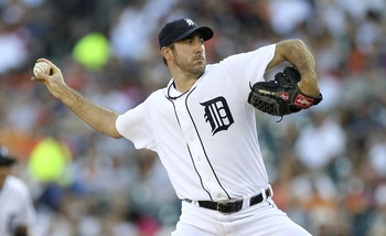 DETROIT - JULY 15:  Justin Verlander  #35 of the Detroit Tigers pitches in the first inning during the game against the Chicago White Sox at Comerica Park on July 15, 2011 in Detroit, Michigan.  (Photo by Leon Halip/Getty Images)