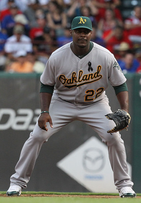 ARLINGTON, TX - JULY 09:  Chris Carter #22 of the Oakland Athletics at Rangers Ballpark in Arlington on July 9, 2011 in Arlington, Texas.  (Photo by Ronald Martinez/Getty Images)