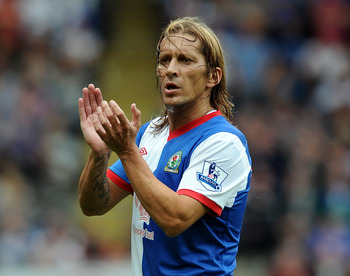 Michel Salgado backs up the right side of Blackburn's defense