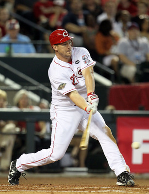PHOENIX, AZ - JULY 12:  National League All-Star Scott Rolen #27 of the Cincinnati Reds at bat during the 82nd MLB All-Star Game at Chase Field on July 12, 2011 in Phoenix, Arizona.  (Photo by Jeff Gross/Getty Images)